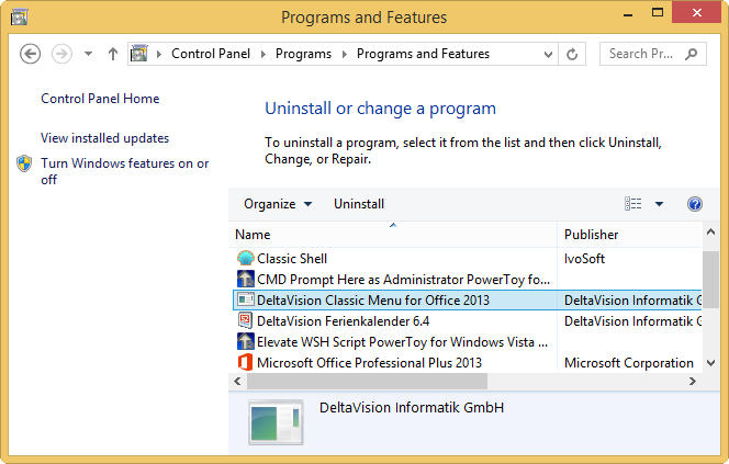 Details of the Office Classic Menu for Office 2010 / 2013
